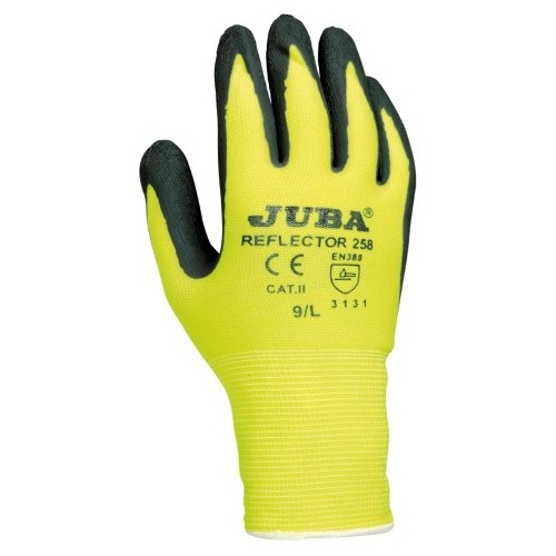 Guante ligero nylon con alta visibilidad - Baño de látex rugoso - Muy flexible -  REFLECTOR 258