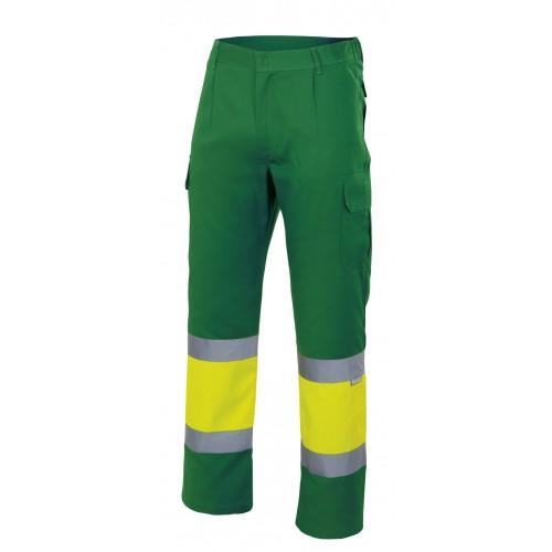 Pantalón bicolor alta visibilidad con 6 bolsillos y elástico en la cintura 157