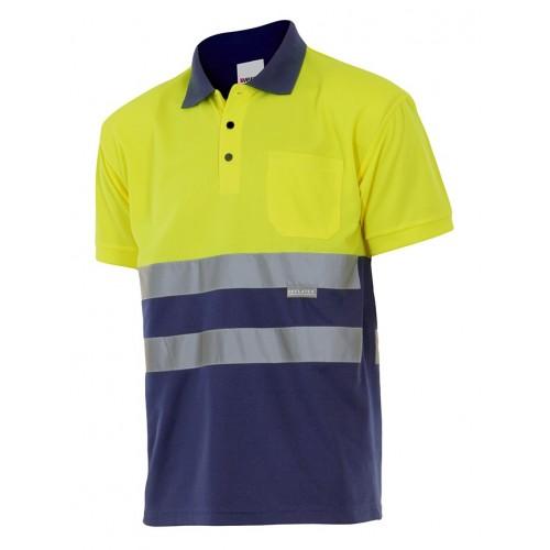 Polo bicolor manga corta alta visibilidad, cuello de canalé y bolsillo 173