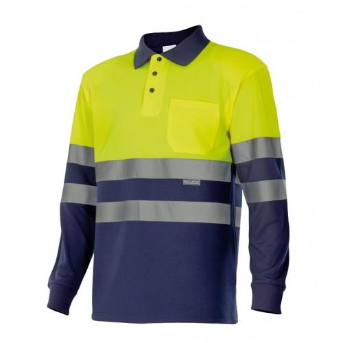 Polo bicolor manga larga alta visibilidad, cuello de canalé y bolsillo 175