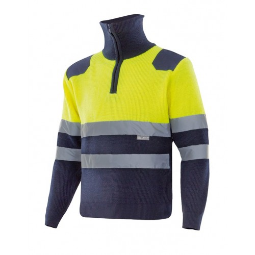 Jersey bicolor con cremallera alta visibilidad 301001