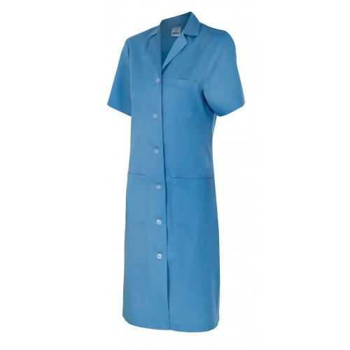 Bata mujer manga corta de botones, 3 bolsillos y cinturón 907