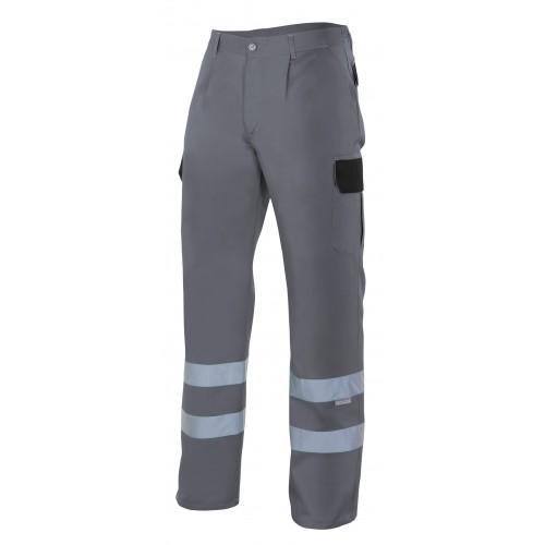 Pantalón multibolsillos bicolor con cintas reflectantes PT159