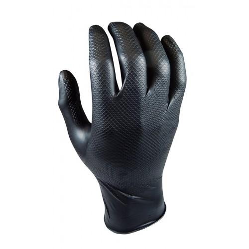 Guante de nitrilo negro de gran agarre - Doble texturizado - 580NR Grippaz - 50 unid.