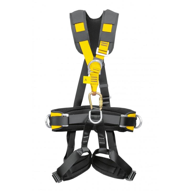 Arnés de asiento para suspensión y posicionamiento con cintas superiores elásticas y protector cervical BIHOR PLUS 80077