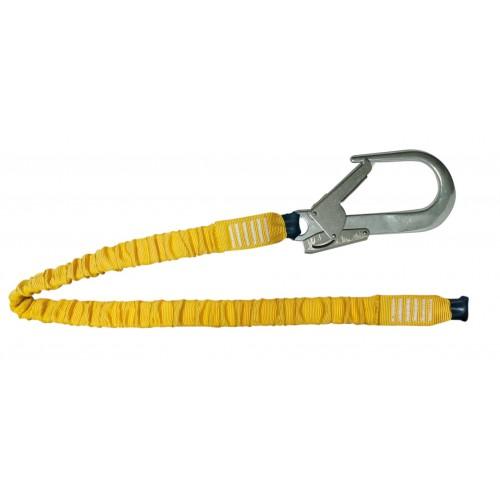 Cinta elástica de seguridad con dos cintas tubulares superpuestas y mosquetón de aluminio 80164