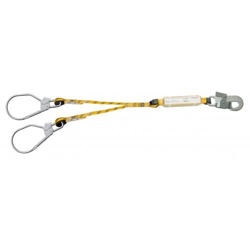 Doble cuerda de 1,5m cada una especial para ascenso/descenso en estructuras, con absorbedor y mosquetones 80220