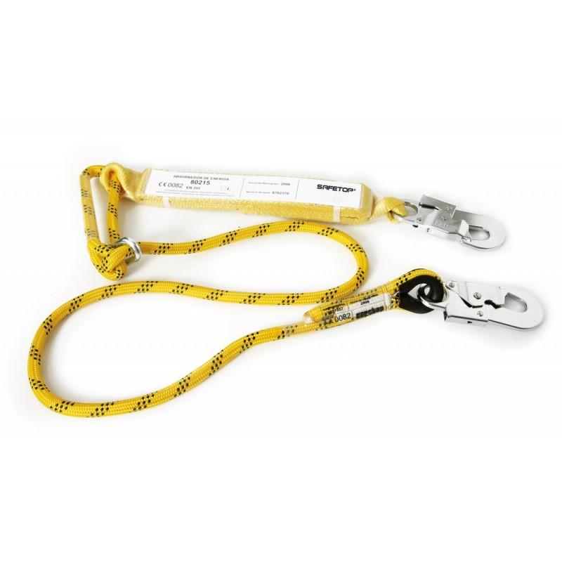 Absorbedor de poliamida de cinta con cuerda de 10,5mm de diámetro y 1,5m de largo, regulable, con mosquetones 80215