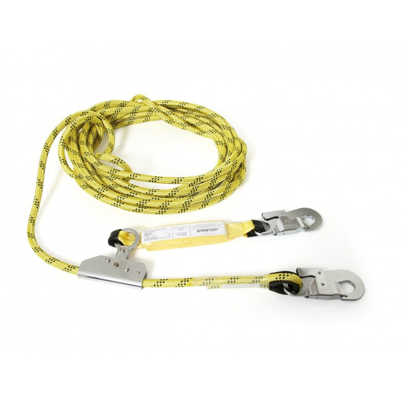 Cuerda de poliéster de 12mm con altochut , 2 mosquetones y absorbedor 80231