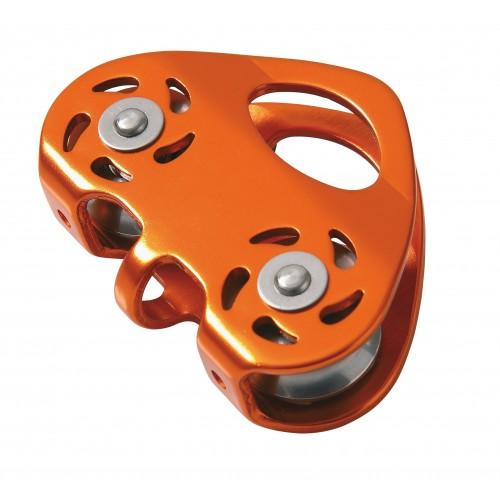 Polea para tirolina en aluminio anodizado para cuerda de máximo 13mm y cable de hasta 12mm 80127