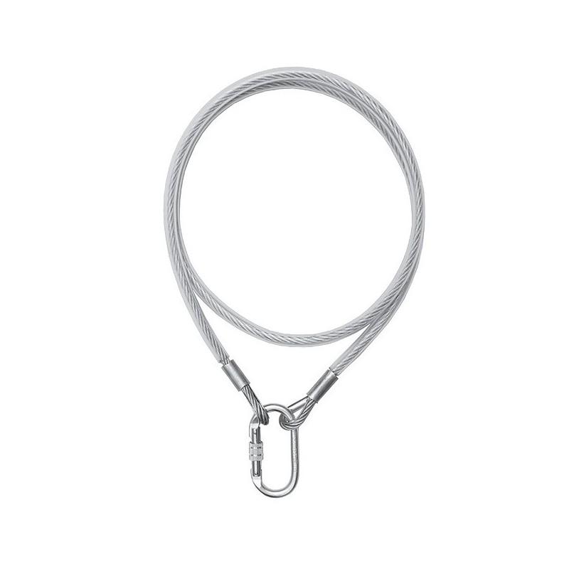Cable conector de acero de 8mm protegido por una funda de polietileno, con extremos abiertos y mosquetón 80293