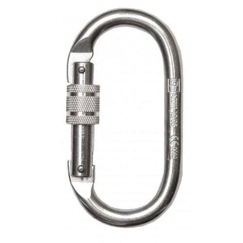 Mosquetón básico de acero con mecanismo de bloqueo de rosca, de cierre automático 80112