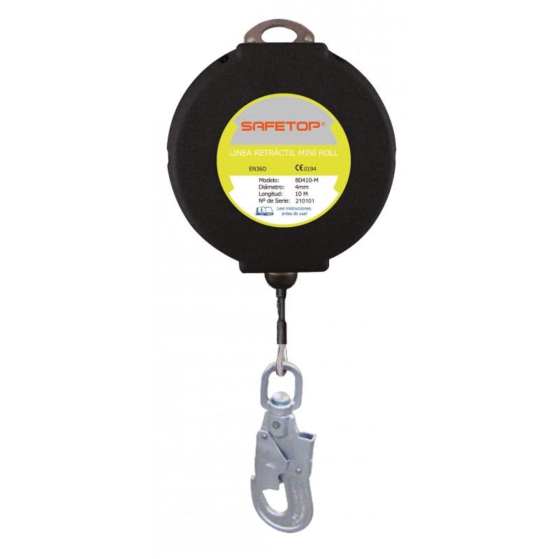 Miniroll de cable de acero inoxidable para uso vertical y horizontal, con mosquetón giratorio de acero 80410MX