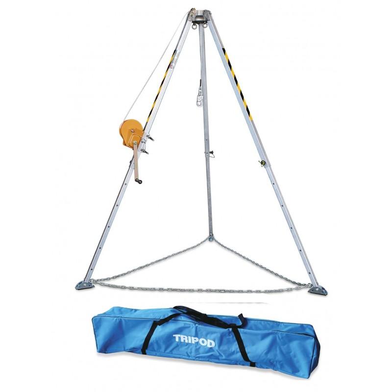 Kit para espacios confinados con trípode de duraluminio, torno de 25m y mochila 80375