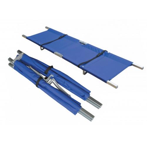 Camilla de estructura de aluminio y cuerpo de nylon azul plegable en dos sentidos 80380