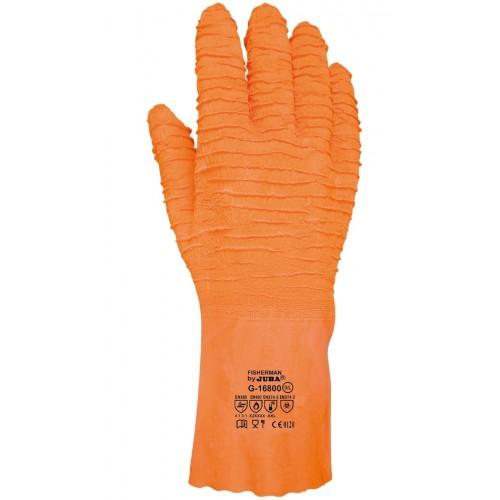 Guante de látex muy rugoso naranja - Alta resistencia - Gran agarre - G16800 Fisherman