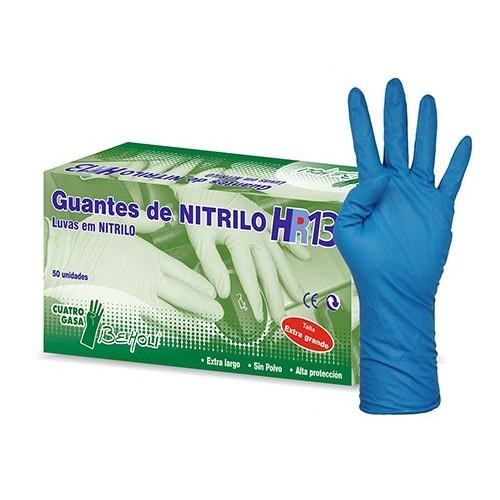 Guante de nitrilo largo 300 mm - Muy alta resitencia -HR13 - 50 unid.