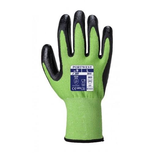 Guante Anticorte con baño en palma de nitrilo Foam - A645 - Green Cut 5